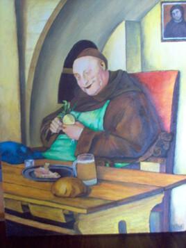 Le moine peinture à l'huile sur toile de 50 X 40 cm  de Henry Prost artiste coté