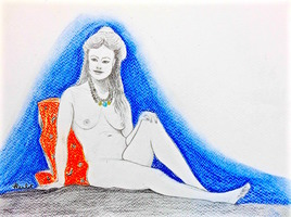 Femme assise au collier Lola 2/2 / Drawing : a woman with a necklace sitting