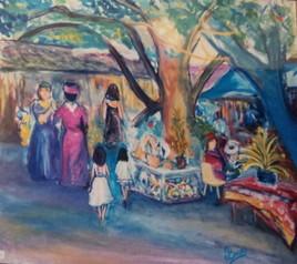 Marché artisanal à Tahiti