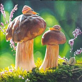 Escargots sur champignons