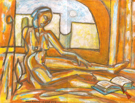 Femme au livre bleu
