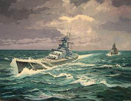 Le cuirassé allemand Scharnhorst .