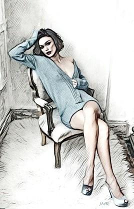 La femme au pull bleu