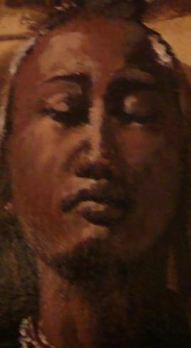 Africaine aux yeux fermés