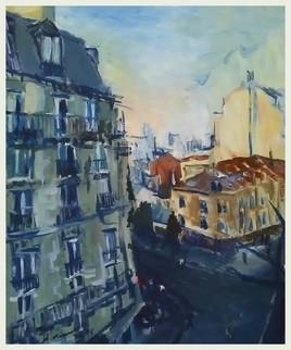 Vu du balcon sur la rue de Meaux ...