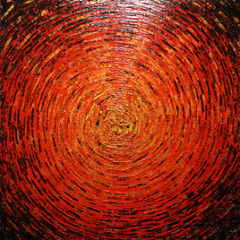 Peinture au couteau : Éclat de couleur or rouge vermillon.