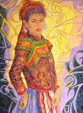 Jeune Hmong-fleuri au tablier