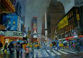 Pluie sur Time Square