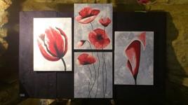 Quadryptique fleurs roses