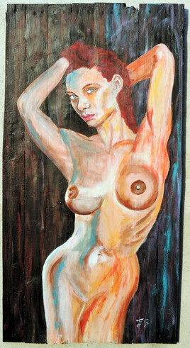 """""""femme de couleur"""" peinture sur bois de palettes"""