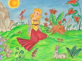 Jeune fille dans la nature