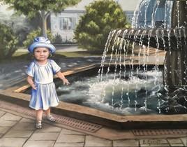La petite fille à la fontaine 14x18