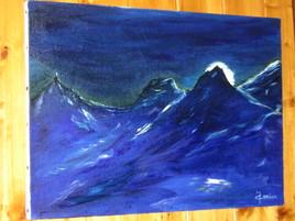 Lever de lune sur le massif du Mont-Blanc