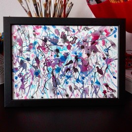 Peinture abstraite '' Blue and Pink ''