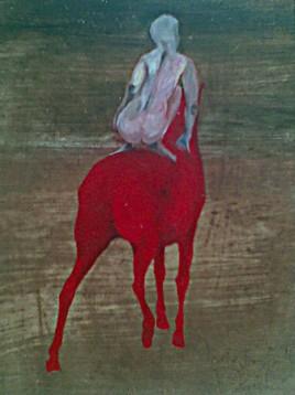 nue sur cheval rouge de dos