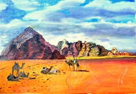 les chameaux dans le desert