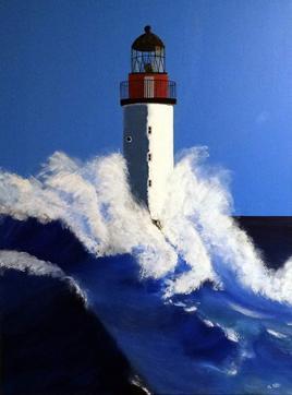 Peinture acrylique Phare dans la tempête - 2