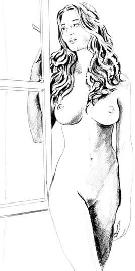 Dessin femme à la fenêtre