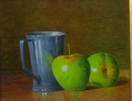 Pichet d'étain et pommes