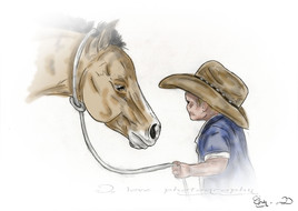 cow-boy and his foal