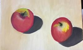 2 pommes rouge et jaune