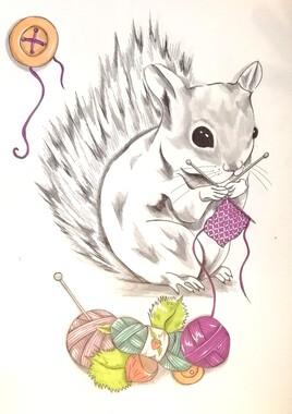 Écureuil tricoteur