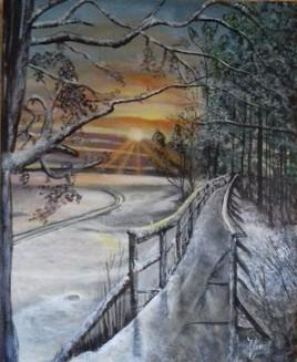 Coucher de soleil sur paysage d'hiver