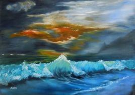coucher de soleil plage vague