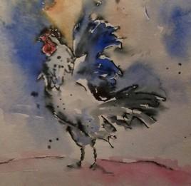 coq prêt a se battre pour les petites poules
