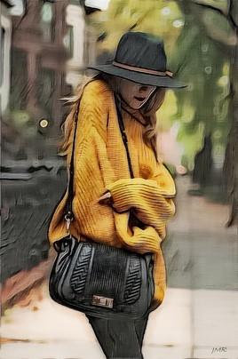 La femme au pull jaune.