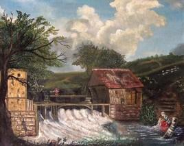 Lavandière près d'un moulin de l'Avesnois