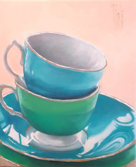 Peinture Blue cup, green cup