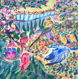 peinture réunion d'oiseaux