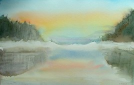 Aurore hivernale sur un lac