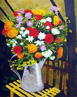 """Vide Atelier - Peinture fleurs sur toile - """"Bouquet de Fleurs"""""""