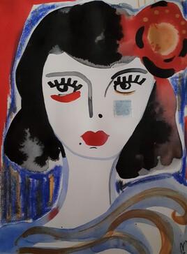 Portrait avec fleur