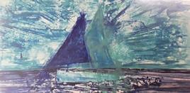 sloop à voiles bleues