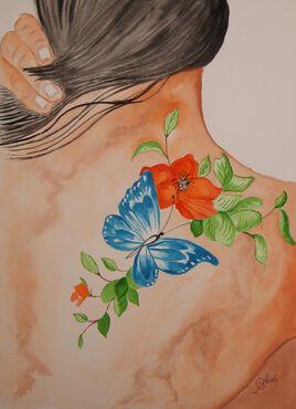 tatouage épaule papillon
