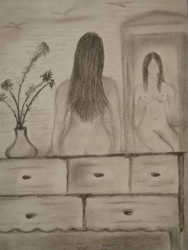 Uvres d 39 art dessins for Reflet dans le miroir
