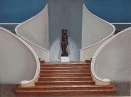 escalier double et statue