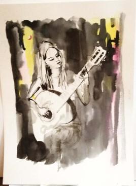 Marthe à la guitare
