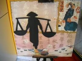 Tableau asiatique en collage