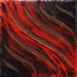 Tableau contemporain : Fluide rouge.