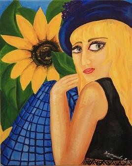 Girl in tournesols. Martynova Elena professionel artist.