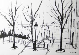 Les escaliers de Montmartre - Encre de Chine