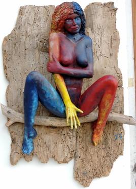 femme de couleur sur bois vermoulu JfG Jean-François Gantne