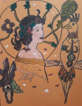 Femme art nouveau et oiseau