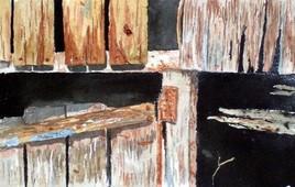 Grange en ruine (détail frontal)