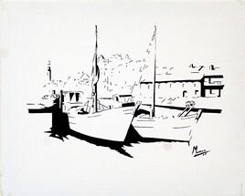 """Vide atelier - Peinture monochrome - """"Port et bateaux bleus"""" -"""