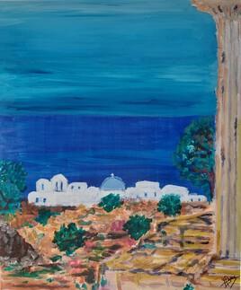 Bleu grec acrylique sur toile